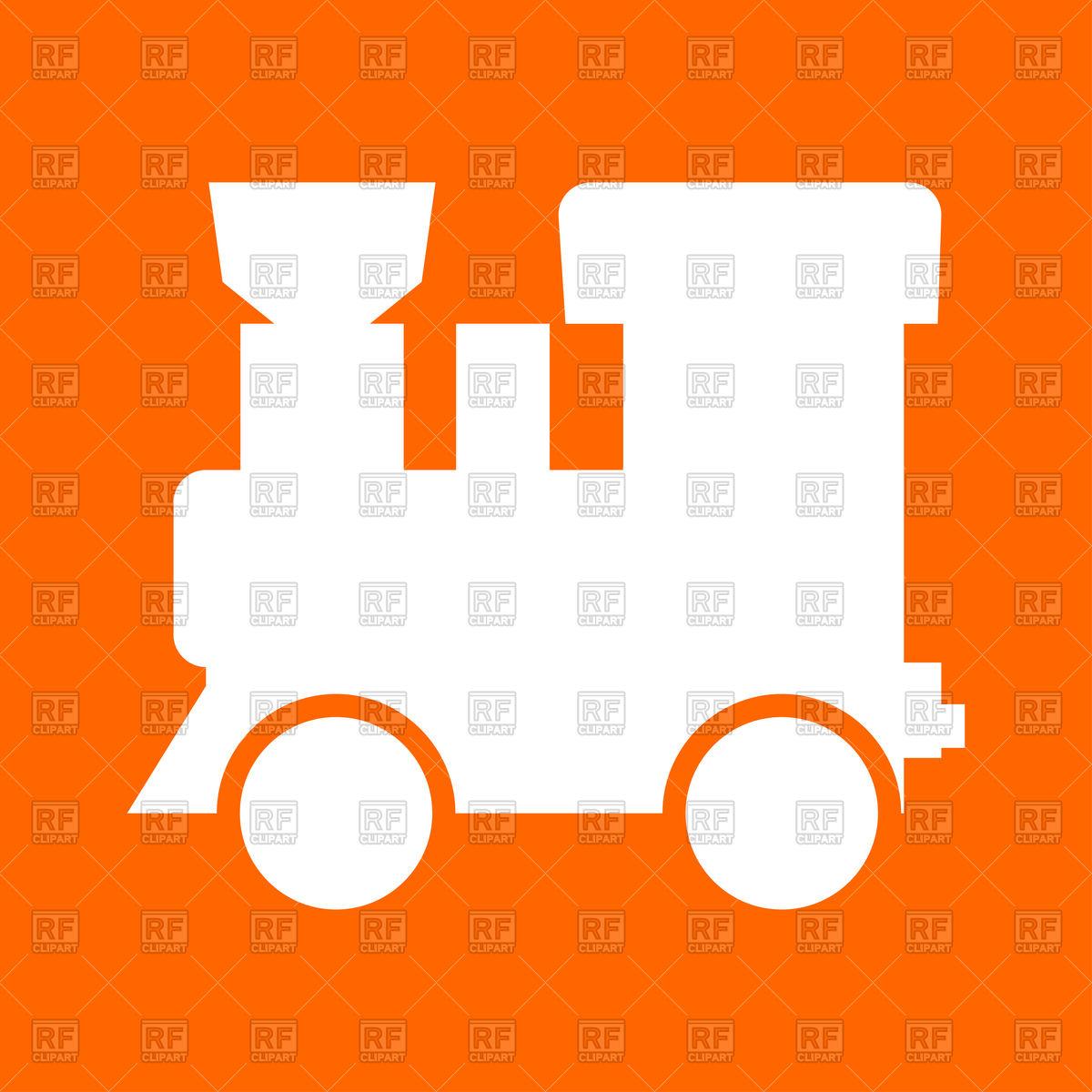 1200x1200 Steam Locomotive White Icon On Orange Background Royalty Free