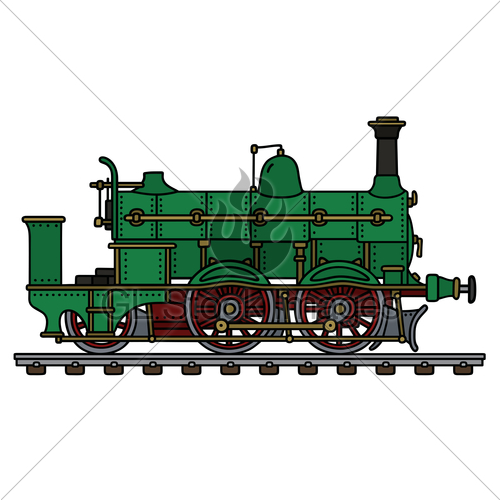500x500 Collection Of Green Steam Train Drawing High Quality, Free