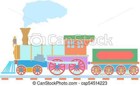 450x279 Vintage Steam Locomotive Vector Logo Design Template. Train