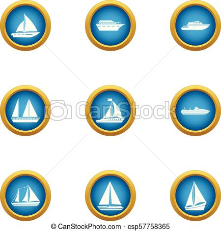 450x470 Steamboat Icons Set, Flat Style. Steamboat Icons Set. Flat Clip