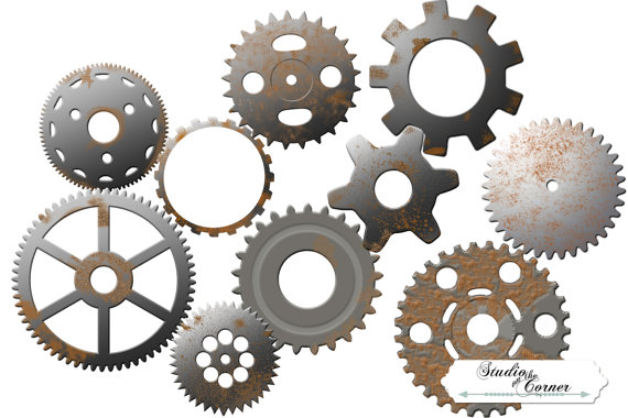 570x380 Digital Steampunk Gear Clip Art, Gear Clip Art, Steampunk Clip Art