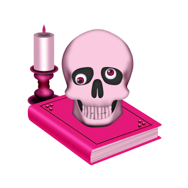 600x600 Skull, Book And Candle Clip Art