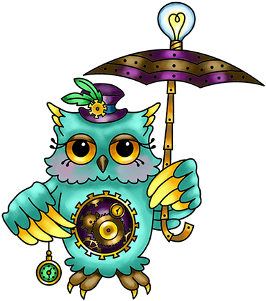 383x432 Steampunk Owl