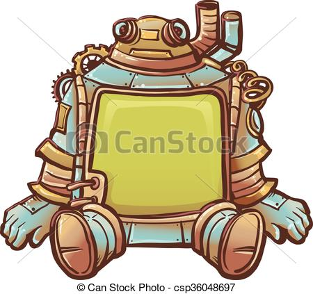 450x423 Steampunk Robot Frame. Steampunk Illustration Of Robot