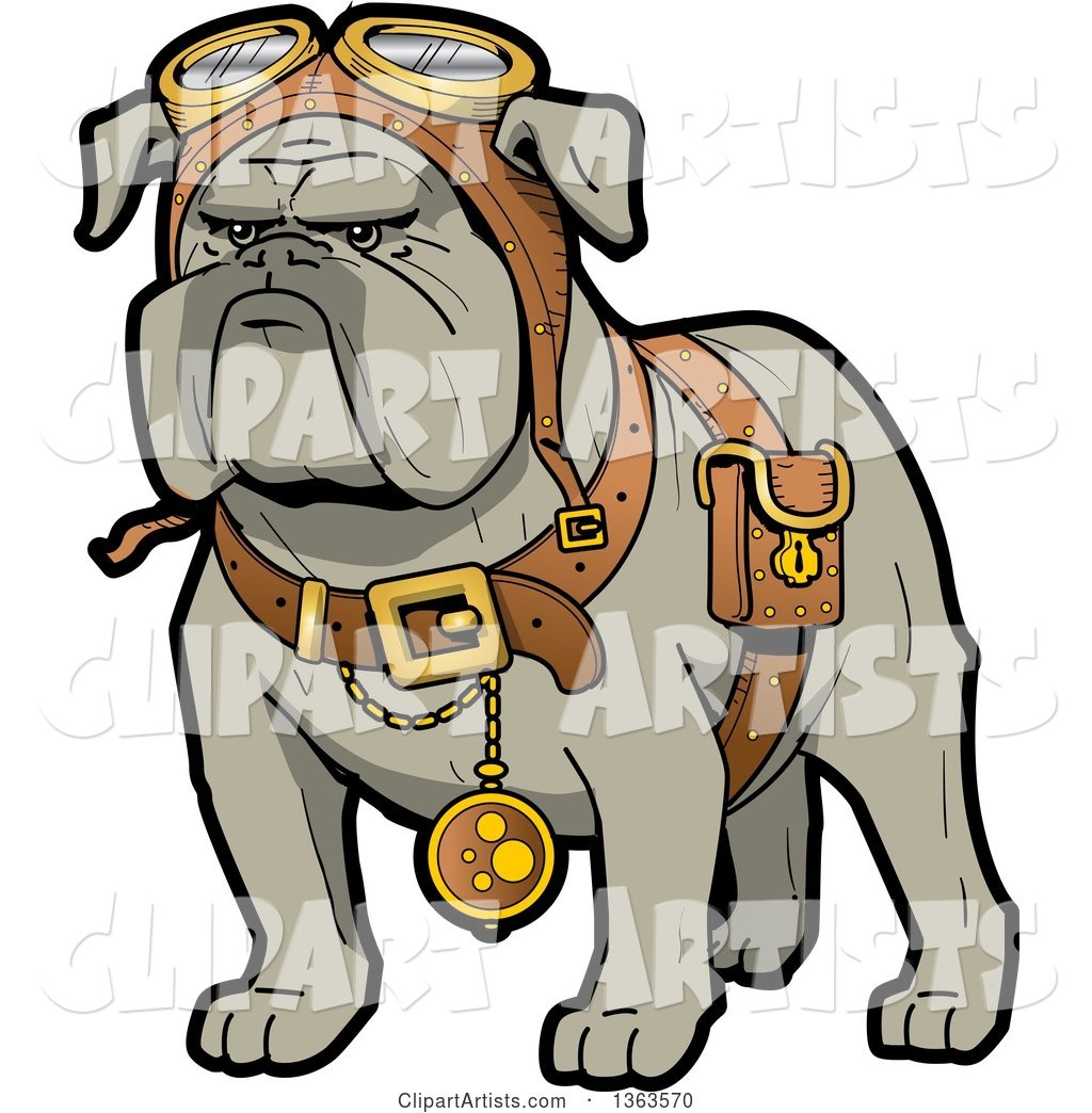 1024x1044 Cartoon Steampunk Bulldog Explorer Wearing A Pouch, Pocket Watch