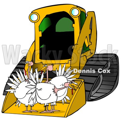 400x400 Clipart Of A Yellow Bobcat Skid Steer Loader With Turkeys In