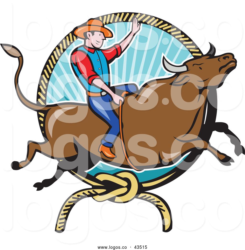 1024x1044 Logo Of A Rodeo Cowboy Man On A Bucking Steer Bull By Patrimonio