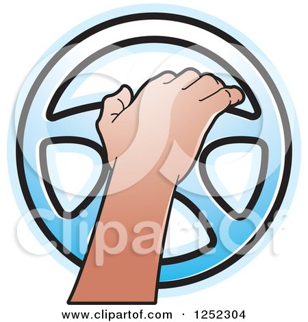 450x470 Clipart Of A Hand Operating A Blue Steering Wheel