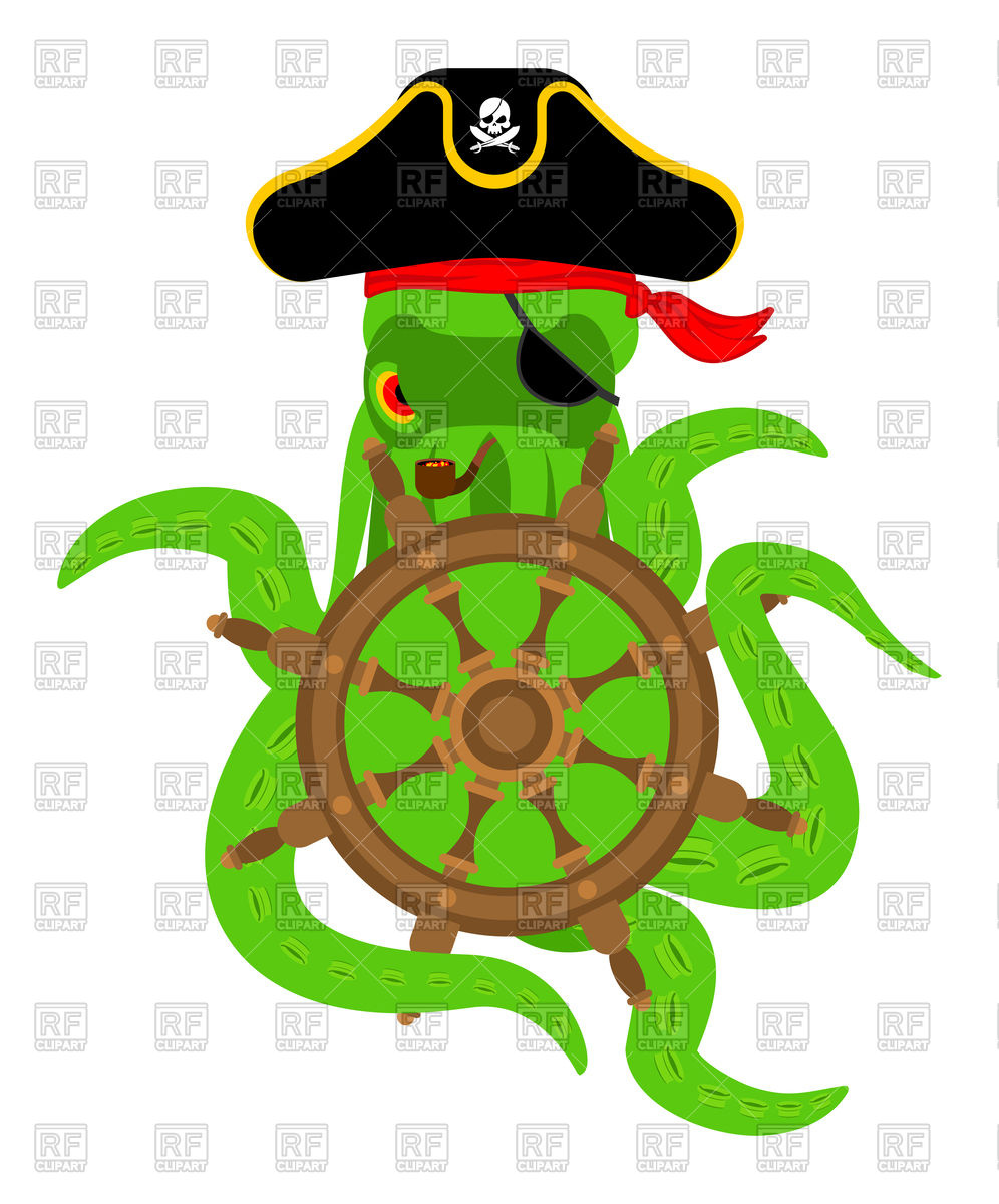 996x1200 Octopus Pirate And Steering Wheel Royalty Free Vector Clip Art