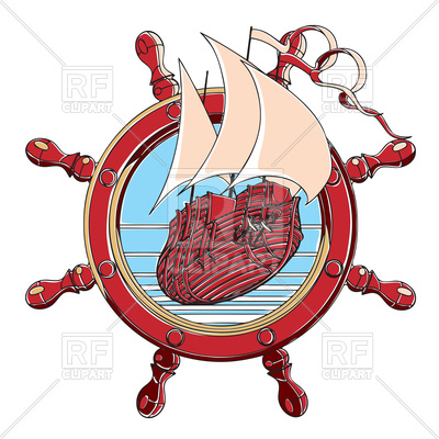 400x400 Badge With Sail Ship And Steering Wheel In Retro Style Royalty