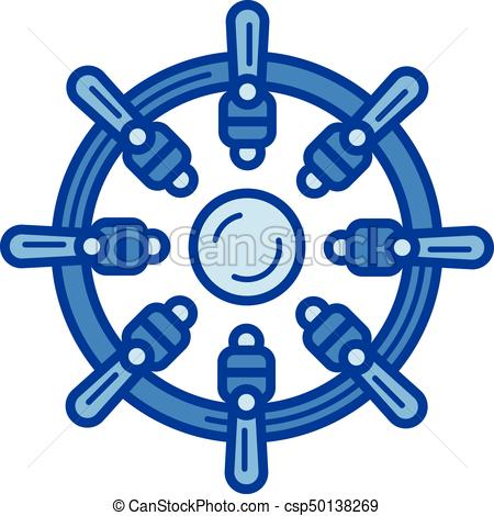 450x470 Ship Steering Wheel Line Icon. Ship Steering Wheel Vector Clip