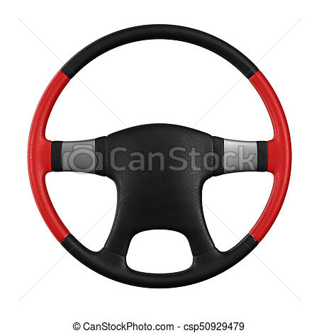 450x470 Steering Wheel On White Background. Isolated 3d Illustration Stock