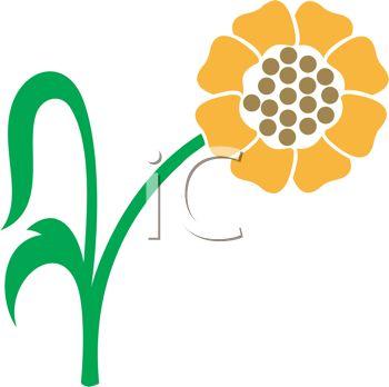 350x348 Royalty Free Clipart Image Sunflower Stencil Design