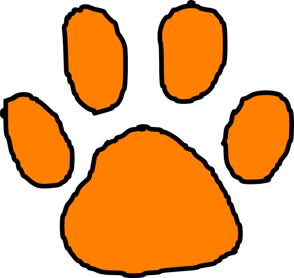 600x567 Orange Paw Print Clip Art Tiger Paw Print Stencil Clipart Best Ba