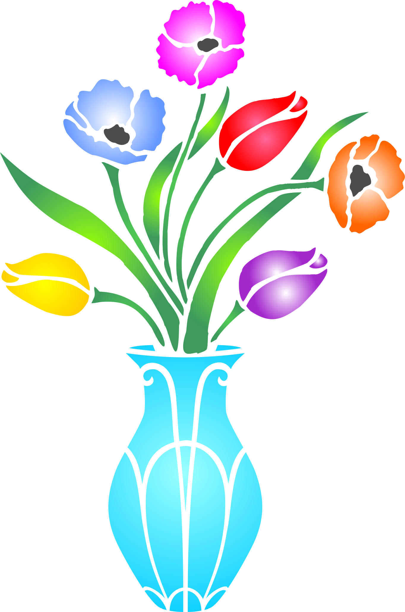 1364x2057 Collection Of Flower Stencil Clipart High Quality, Free