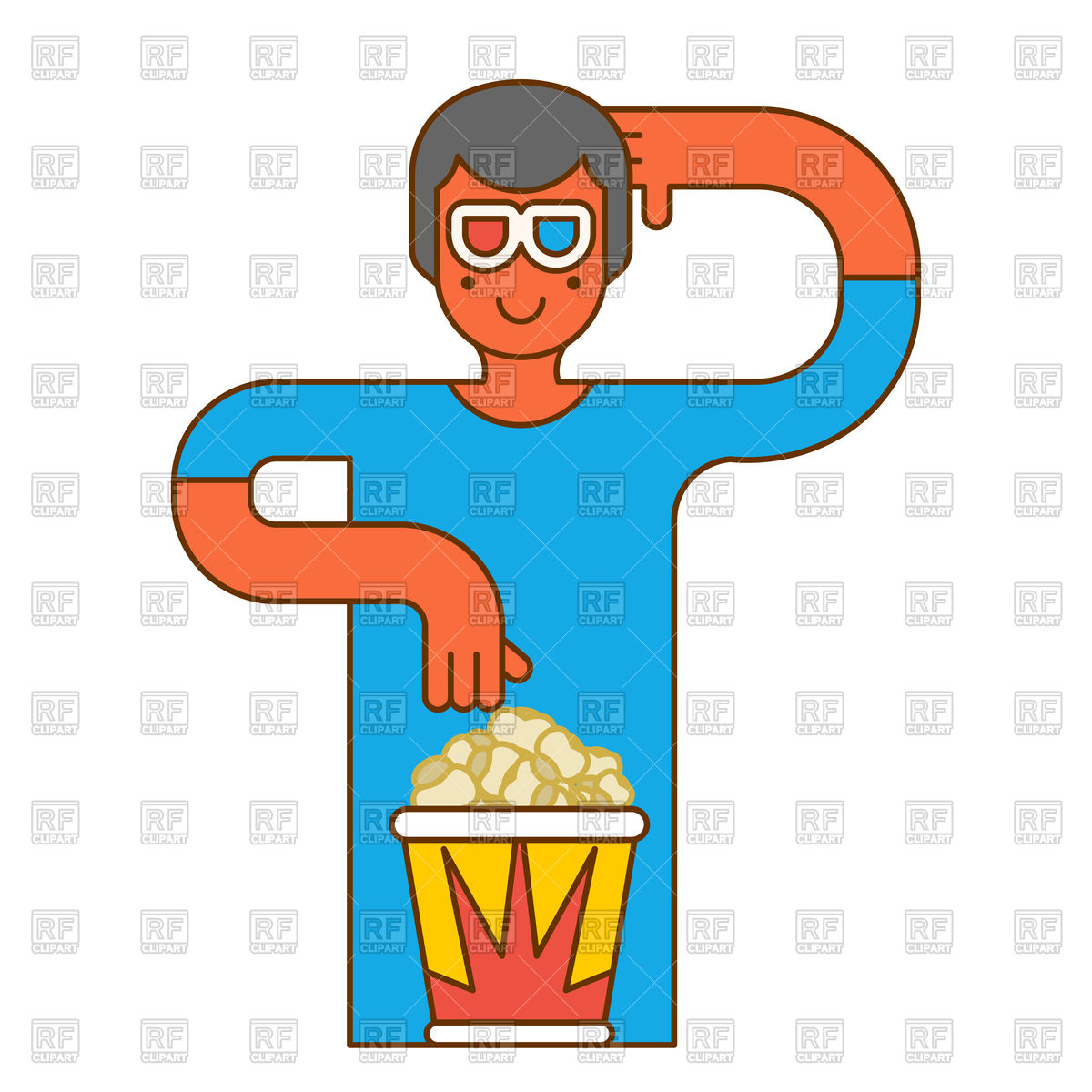 1200x1200 Moviegoer With Popcorn In Stereo Glasses Royalty Free Vector Clip