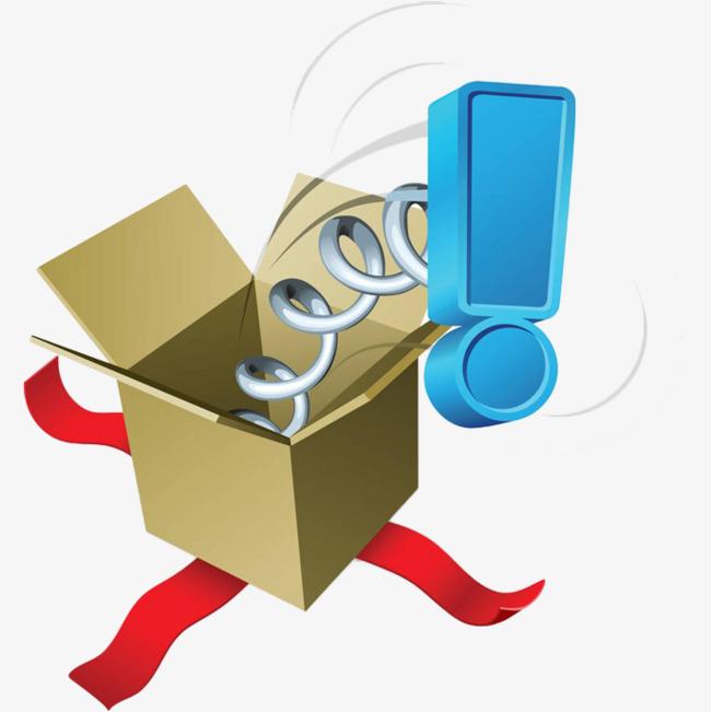 650x651 Stereo Cartoon Gift Box Pops Up Blue., Cartoon, Exclamation Mark