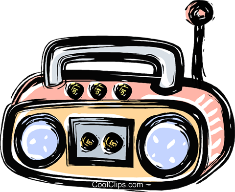 480x393 Portable Stereo System Royalty Free Vector Clip Art Illustration