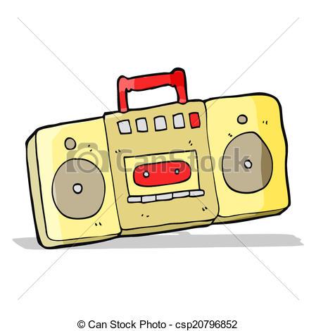 449x470 Cartoon Radio Cassette Player Clipart Vector
