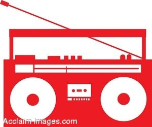 300x250 Clip Art Of A Portable Stereo Silhouette