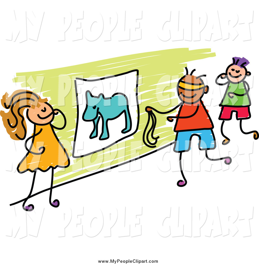 1024x1044 Clip Art Of A Diverse Stick Kids Playing Pin Tail On