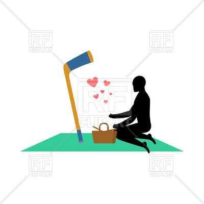 400x400 Guy And Hockey Stick On Picnic Royalty Free Vector Clip Art Image