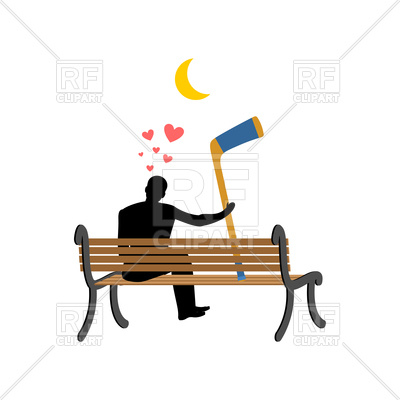 400x400 Man And Hockey Stick Sitting On Bench Royalty Free Vector Clip Art