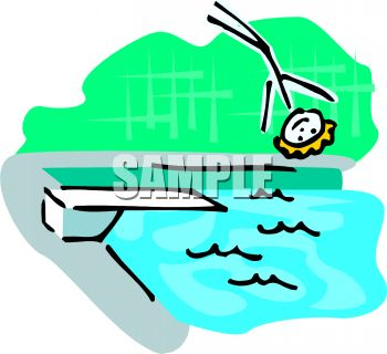 350x320 Stick Figure Falling Off A Diving Board Into A Pool