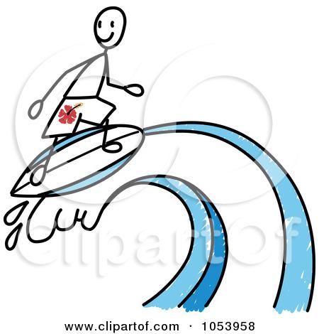 450x470 Surfer Stick Figure Clipart