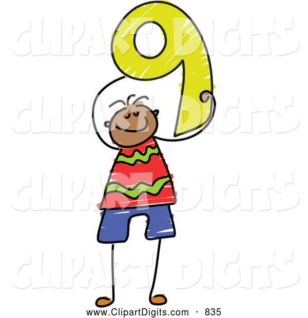 600x620 Vector Clip Art Of A Stick Figure Boy Holding The Number 9 Nine By