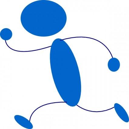 425x425 Stick Figure Running Blue Stick Man Clip Art Free Vector In Open