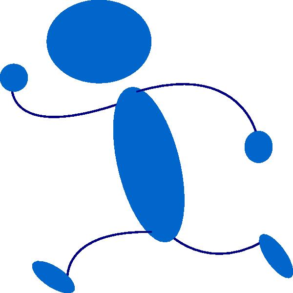 600x600 Person Running Running Blue Stick Man Clip Art