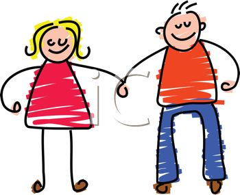 350x285 Picture Of A Boy And A Girl Stick Figure Holding Hands And Smiling