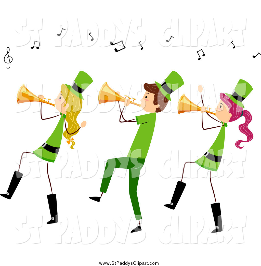 1024x1044 Vector Clip Art Of A St Paddys Day Stick People Playing Trumpets
