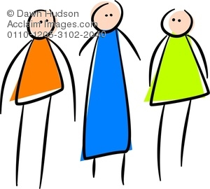 300x270 Clipart Illustration Of A Whimsical Drawing Of Three Stick People