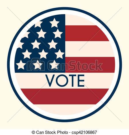 450x470 Election Voting Sticker And Badge. American Flag's Symbolic