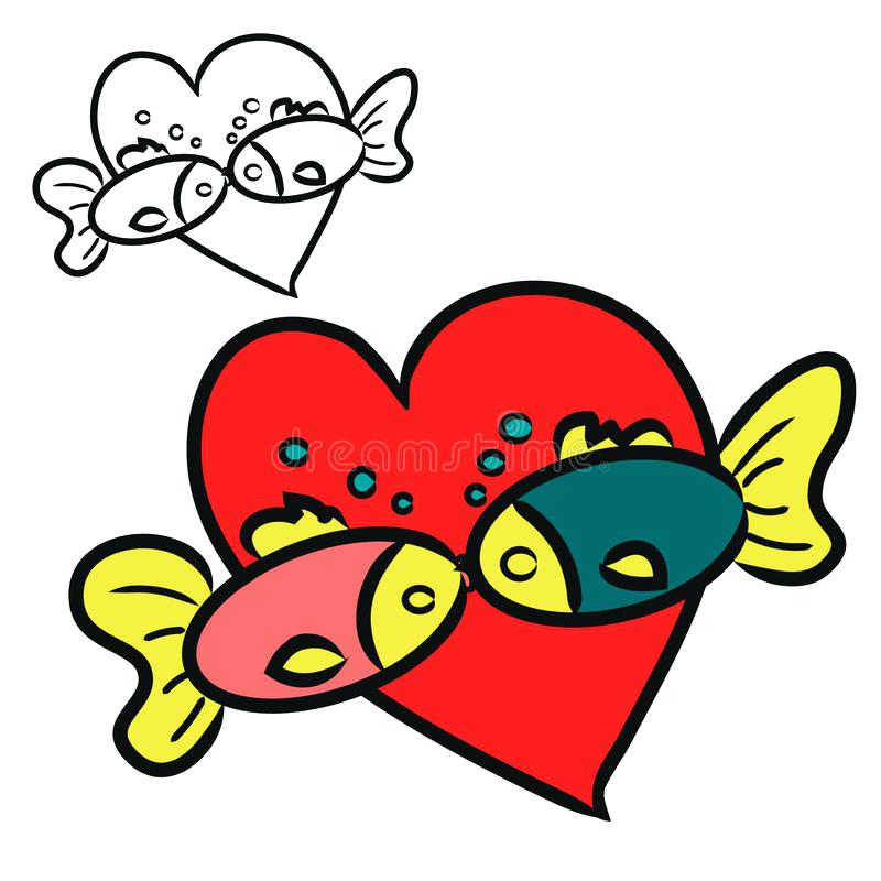 800x800 Kissing Fish Clip Art Download Kissing Fish Two Fish Stock Vector