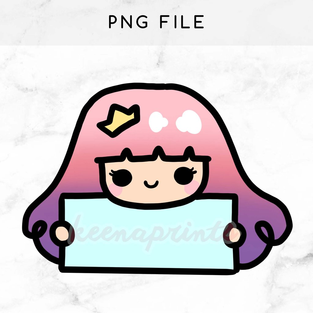 1024x1024 Pastel Princess Pre Made Chibi Printable Clip Art Keenaprints