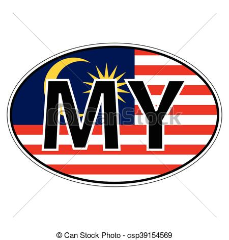 450x470 Sticker On Car, Flag Malaysia With The Inscription My Vector