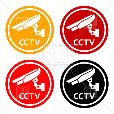 400x400 Warning Round Sticker For Cctv