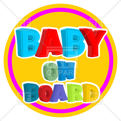 400x400 Colourful Lettering Baby On Board , Sticker On Car Royalty Free