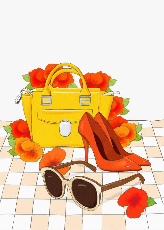 650x911 Ladies Bag And Shoes, Shoes, Bag, Flowers Png Image And Clipart