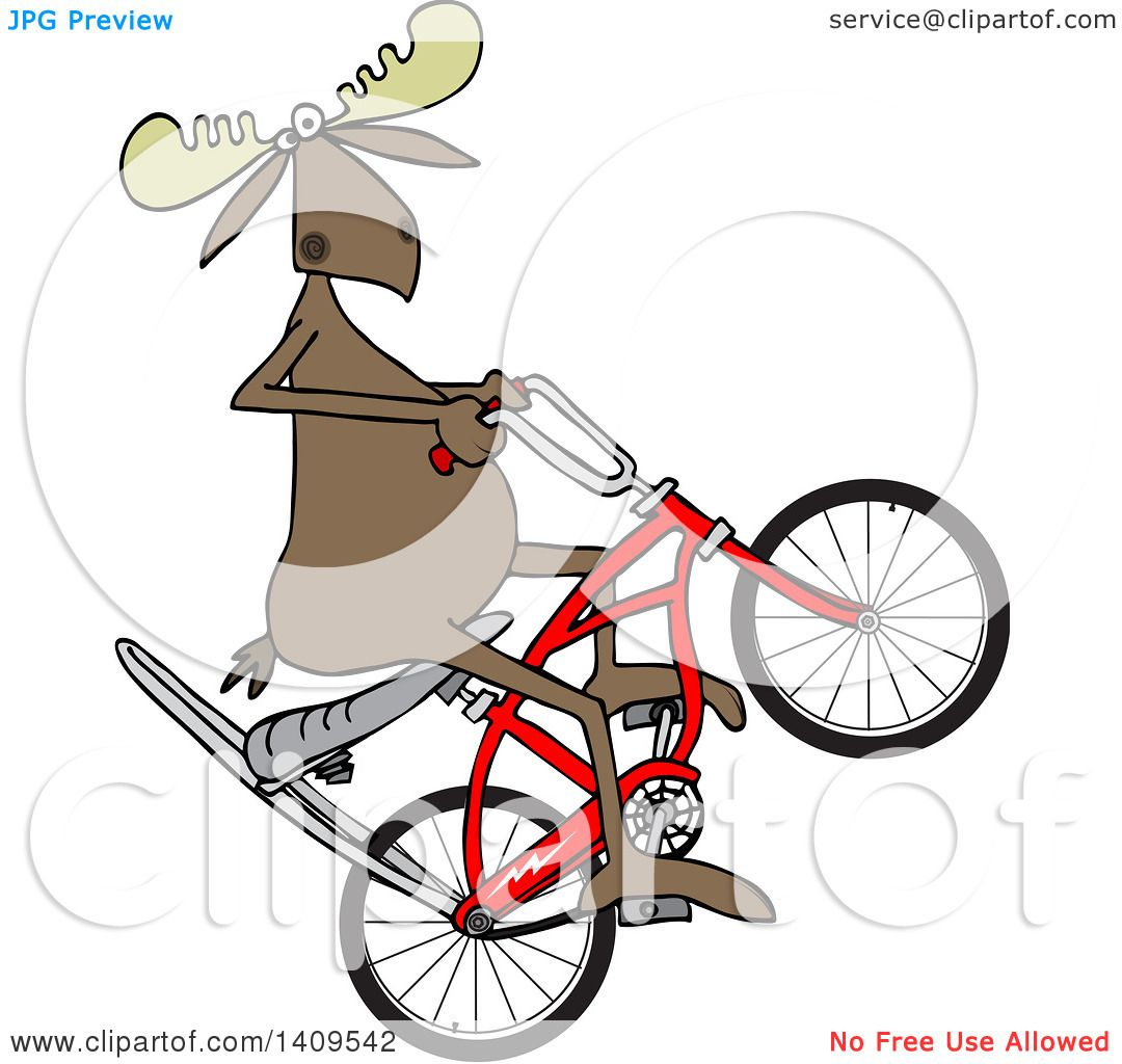 1080x1024 Clipart Of A Cartoon Moose Popping A Wheelie On A Stingray Bicycle
