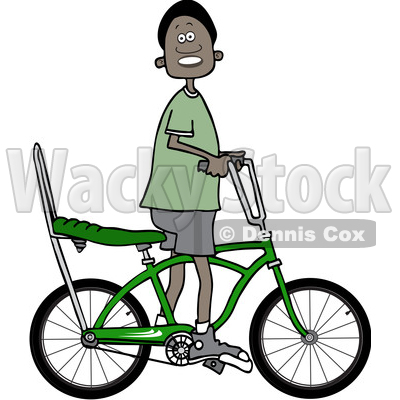 400x400 Clipart Of A Happy Black Boy Riding A Stingray Bicycle