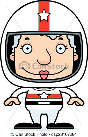 304x470 Cartoon Smiling Race Car Driver Woman. A Cartoon Race Car