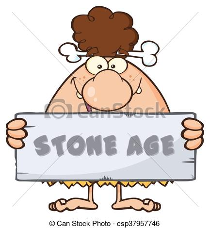 433x470 Cave Woman Holding A Stone Sign. Funny Brunette Cave Woman Eps