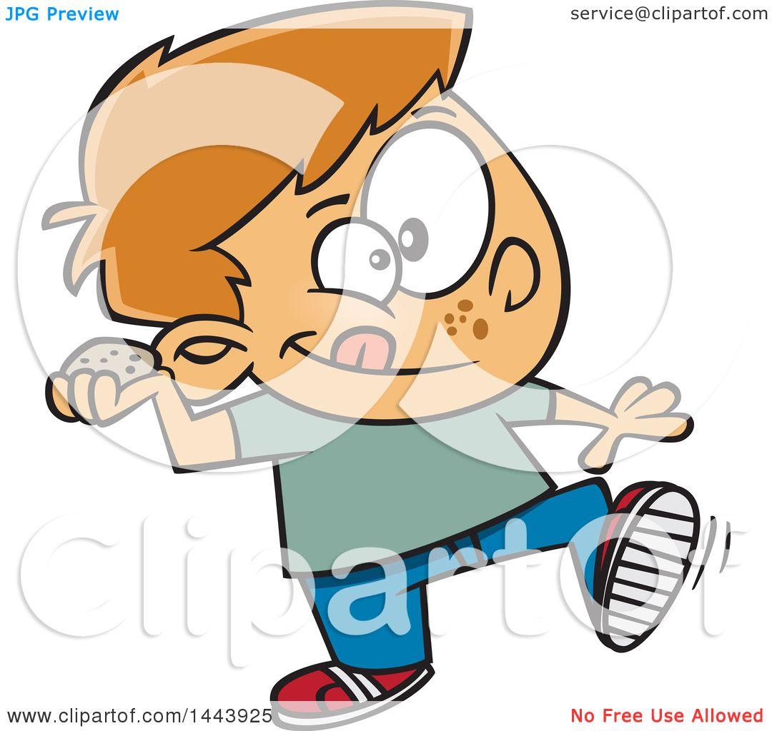 1080x1024 Clipart of a Cartoon White Boy Throwing a Stone