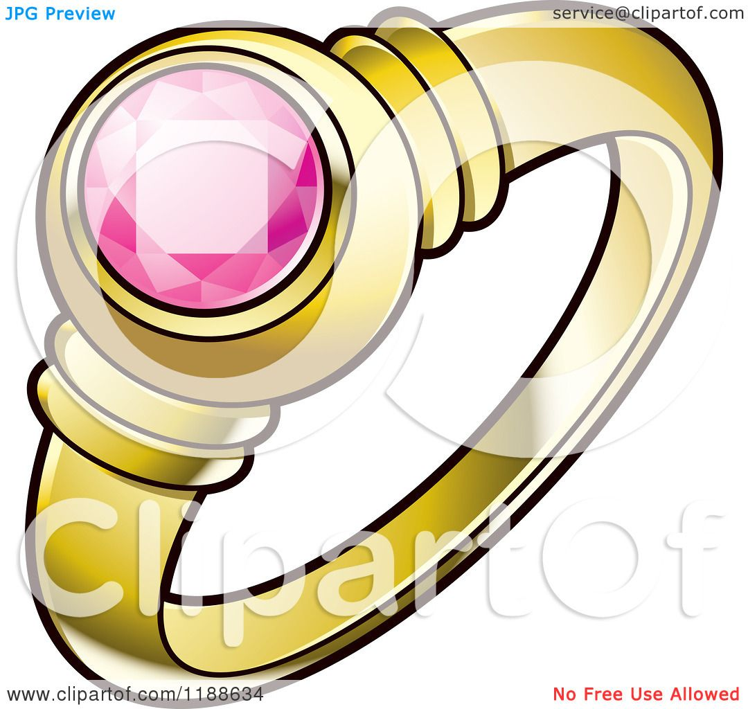 1080x1024 Clipart Of A Gold Wedding Ring With A Pink Gem Stone