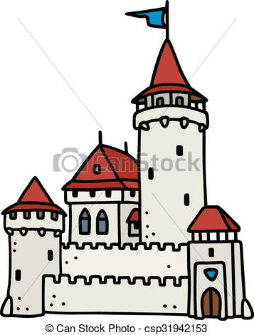 357x470 Hand drawing of an old stone castle