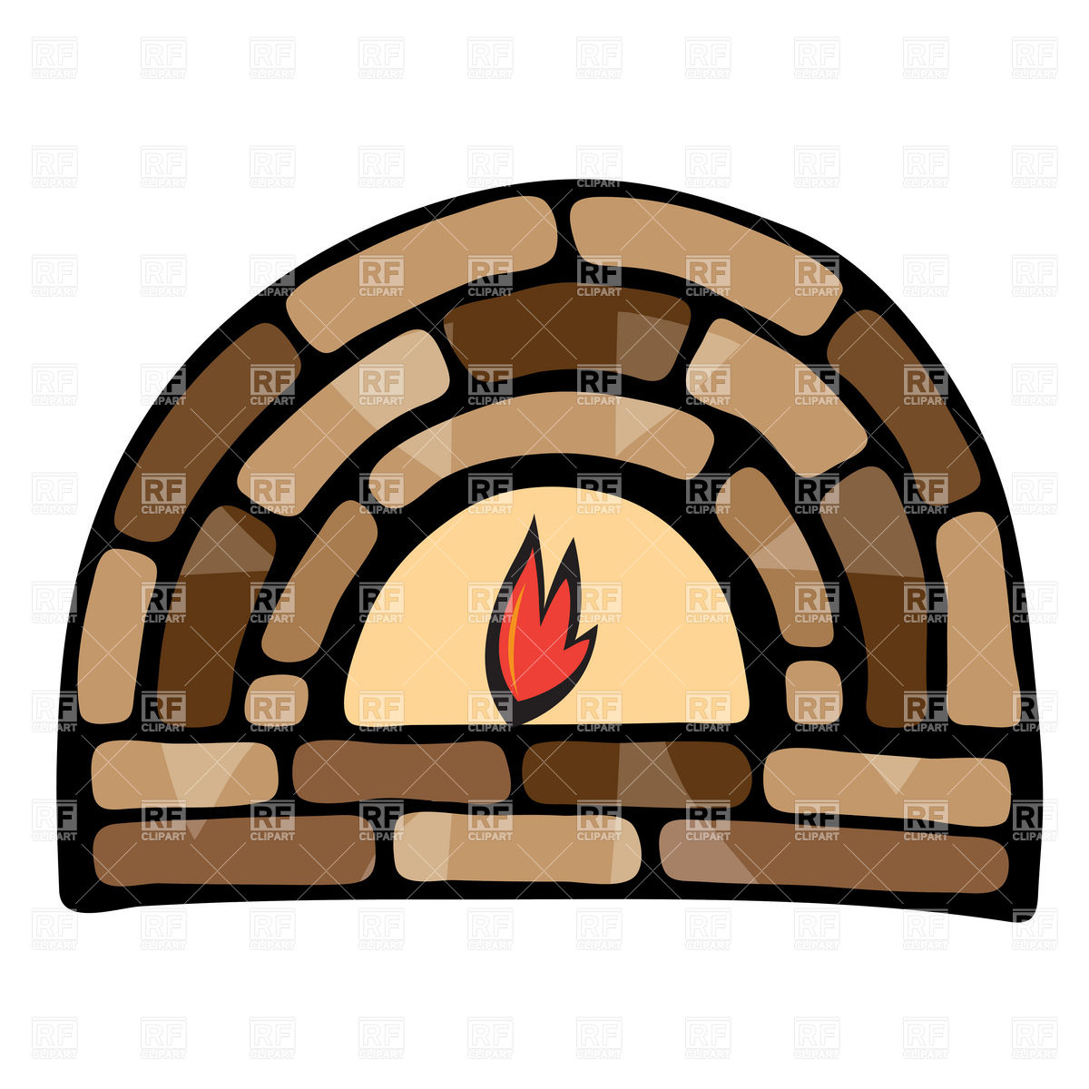 1200x1200 Symbolic Stone Fireplace Royalty Free Vector Clip Art Image
